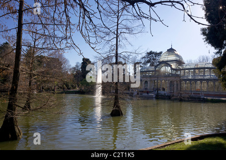 Exterior of the Palacio de Cristal, Crystal Palace, Parque del Retiro, Retiro Park, Madrid, Spain, Europe, EU - Stock Photo