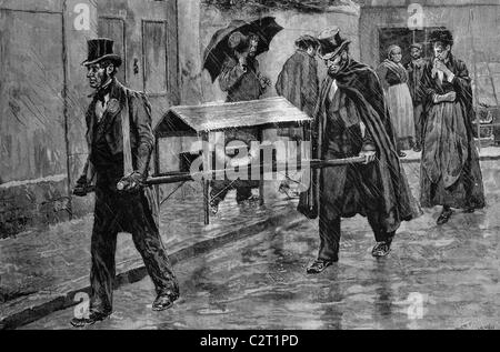 Children's funeral, Paris, France, historical illustration, 1884 - Stock Photo
