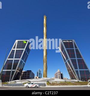 Kio towers at the end of the Paseo de la Castellana, Torres Kio, Puerta de Europa, Plaza de Castilla, Madrid, Spain, - Stock Photo