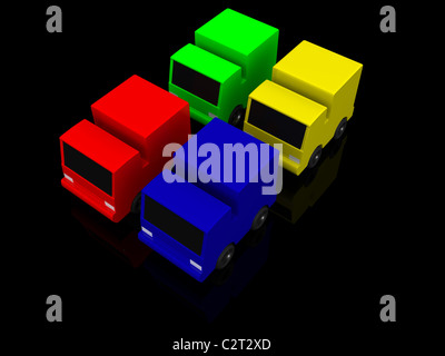 four colored cars. 3d - Stock Photo