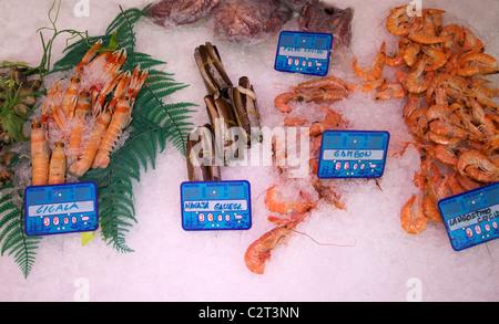 Fresh fish and seafood for sale in market, Mercado de San Miquel, Madrid, Spain, Europe, EU, - Stock Photo