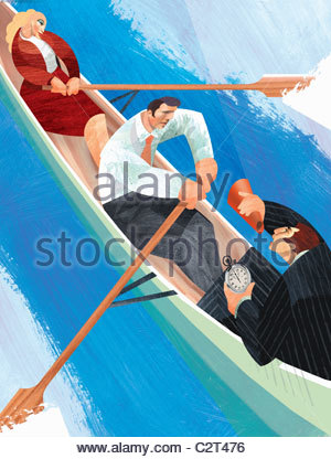 Businessman using bullhorn to encourage co-workers rowing boat - Stock Photo