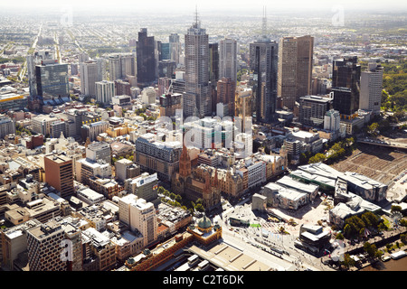 High view of Melbourne CBD from the Eureka Tower - Stock Photo