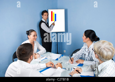 Group of business people sitting around a table at office and having a meeting discussion while a young businessman - Stock Photo