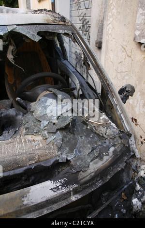 broken windscreen  abandoned car  countryside stock photo  alamy