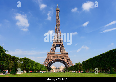 The Eiffel Tower from the Champ de Mars. - Stock Photo