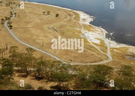 A landscape view of lake Nakuru in Kenya - Stock Photo
