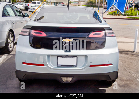 The name of a new Chevrolet Volt hybrid gas/electric car has a bolt of lightning through it as well as the usual - Stock Photo