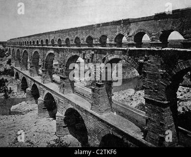 Early autotype of the Pont du Gard, Remoulins, Languedoc-Roussillon, France, historical photo, 1884 - Stock Photo
