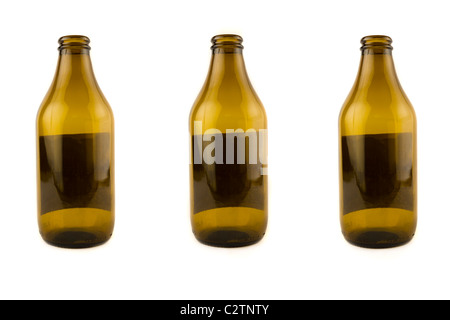 Three empty beer bottles, isolated on white - Stock Photo