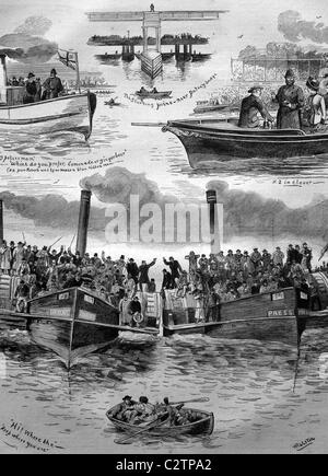 Oxford and Cambridge Boat Race, England, historical illustration, 1884 - Stock Photo