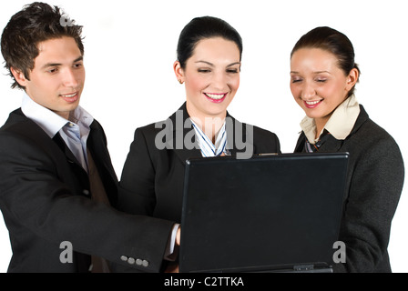 Business team using a laptop ,businessman pointing and they laughing together - Stock Photo