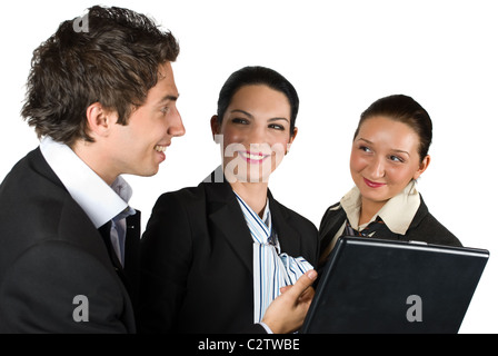 Three business people have a meeting and they discuss,laughing and using laptop,the business man have a funny idea - Stock Photo