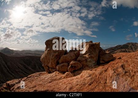 view across the volcanoes betancuria fuerteventura canary islands - Stock Photo
