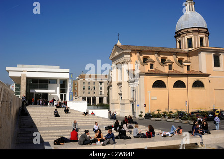 italy, rome, ara pacis and church of san rocco - Stock Photo