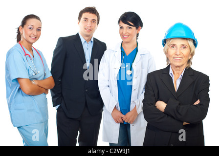 Architect woman in front of a group of different workers isolated on white background - Stock Photo
