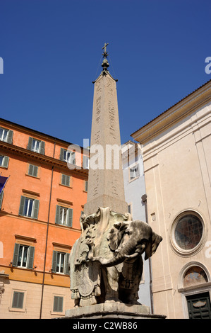 italy, rome, piazza della minerva, elephant and obelisk called 'pulcino della minerva' - Stock Photo