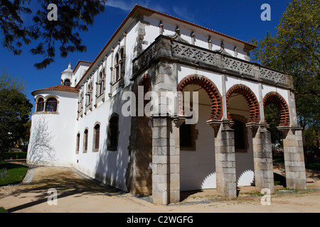 The reconstructed gallery of King Dom Manuel's palace in the Public Garden (Jardim Publico) of Evora, Portugal. - Stock Photo