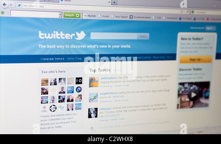 Rijeka, Croatia - April 11th 2011: Close up of Twitter's main page on the web browser. Twitter is very popular social - Stock Photo
