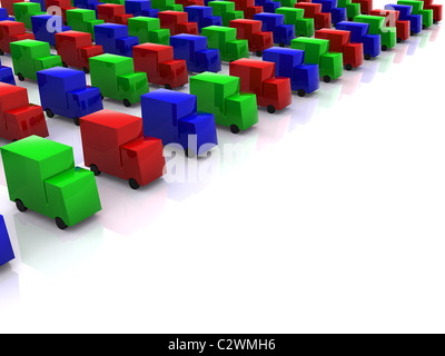 row of colored RGB cars. 3d - Stock Photo