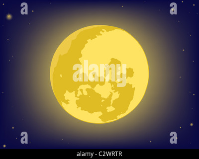 moon on night sky. vector backgrounds - Stock Photo