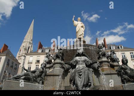 Fountain on fthe Place Royale at Nantes, Loire-Atlantique, France - Stock Photo