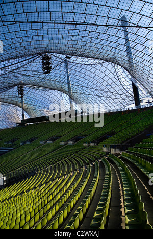 Germany Bavaria Munich 1972 Olympic Stadium curved section of bright green seating under canopies of acrylic glass - Stock Photo