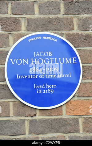 Time Travel Time traveller Jacob Von Hogflume joke blue plaque London - Stock Photo