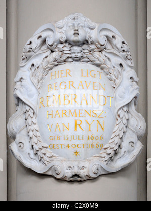 Amsterdam, Netherlands. Westerkerk (church - 1620-38) Plaque commemorating the burial of Rembrandt - Stock Photo