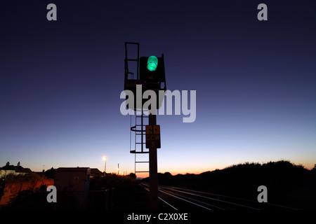 Green for Go: railway signal, Cooden Beach, East Sussex. On the line between Eastbourne and Hastings. - Stock Photo