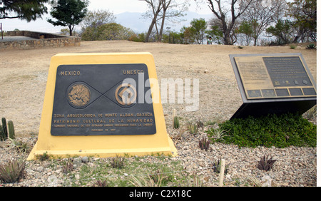World Heritage Site Plaque At The Monte Alban Ruins Oaxaca State Mexico - Stock Photo