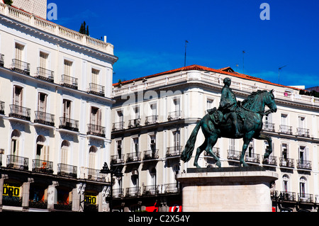 Monument to King Charles III in Puerta del Sol, Madrid, Spain - Stock Photo