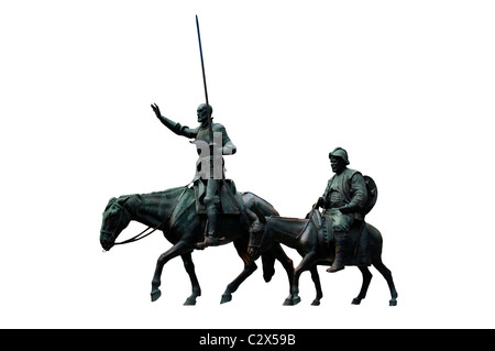 Bronze sculptures of Don Quixote and Sancho Panza on a white background - Stock Photo