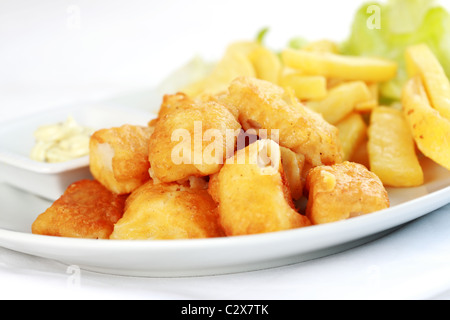 Fried fish and chips with