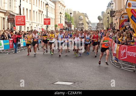 London marathon 2011,Church Street, Greenwich London, England, United Kingdom. - Stock Photo