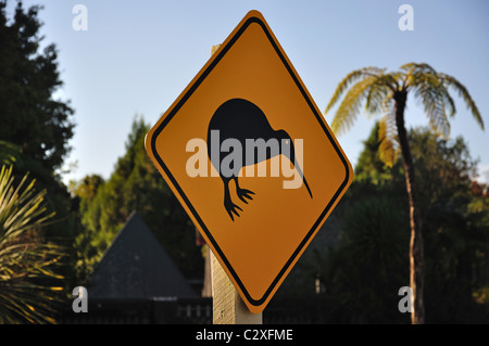 Kiwi road sign, near Rotorua, Bay of Plenty Region, North Island, New Zealand - Stock Photo