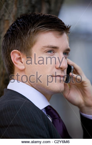 Portrait of a businessman using his mobile phone, outside - Stock Photo