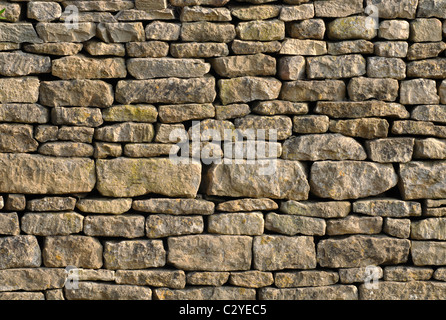 Cotswold dry stone garden wall - Stock Photo