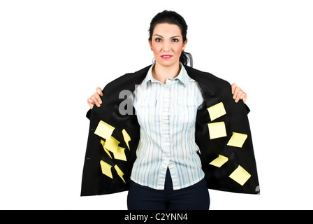 Stressed ,confused or busy business woman with many post it on her interior jacket isolated on white background - Stock Photo