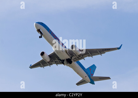 BOEING 757-204, reg G-BYAK, belonging to Thomson Airlines, taking off from Manchester Airport, UK - Stock Photo