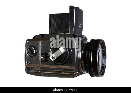 old film reflex 6x6 medium format photocamera photographic camera on  white background - Stock Photo