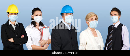 Group of different people jobs:doctor,architects or engineers,business man or retired woman standing in a line straight - Stock Photo