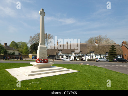 View of the village green in picturesque King's Somborne, Test Valley, Hampshire, UK - Stock Photo