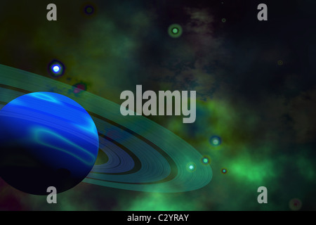 A blue ringed planet and nearby stars. - Stock Photo