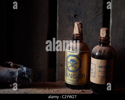 Forgotten poison on the shelf - Stock Photo
