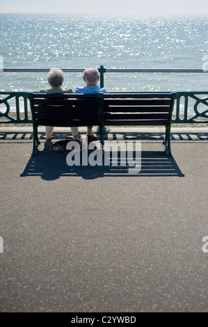 Elderly Couple on a Promenade Bench Enjoying the Weather at the Seaside while their Dog Seeks Refuge from the Sun - Stock Photo