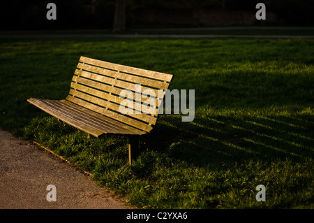 A park bench in Primrose Hill, London, casts a shadow in the evening light - Stock Photo