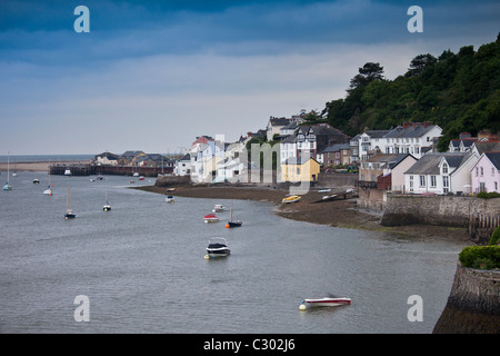 Sailing boats and fishing trawlers moored in Dyfi estuary at Aberdyfi, Aberdovey, Snowdonia, Wales - Stock Photo