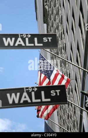 USA, New York, Wall Street, stock market - Stock Photo