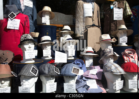 Hat shop window display in Manchester UK - Stock Photo